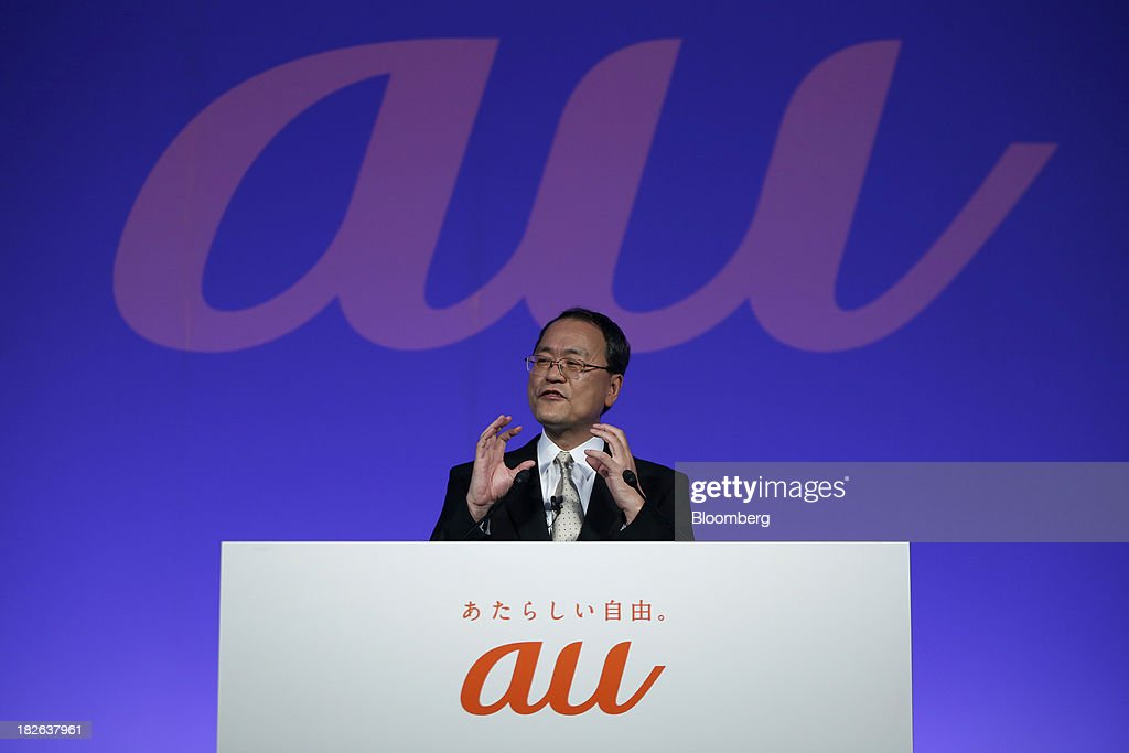 <a gi-track='captionPersonalityLinkClicked' href=/galleries/search?phrase=Takashi+Tanaka&family=editorial&specificpeople=4503652 ng-click='$event.stopPropagation()'>Takashi Tanaka</a>, president of KDDI Corp., speaks during a product launch event for the company's 'au' brand of smartphones in Tokyo, Japan, on Wednesday, Oct. 2, 2013. KDDI is Japan's second-largest mobile carrier. Photographer: Kiyoshi Ota/Bloomberg via Getty Images
