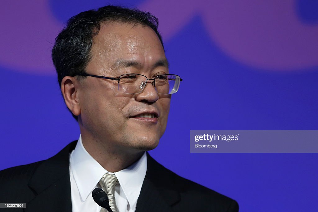 Takashi Tanaka president of KDDI Corp speaks during a product launch event for the company's 'au' brand of smartphones in Tokyo Japan on Wednesday...