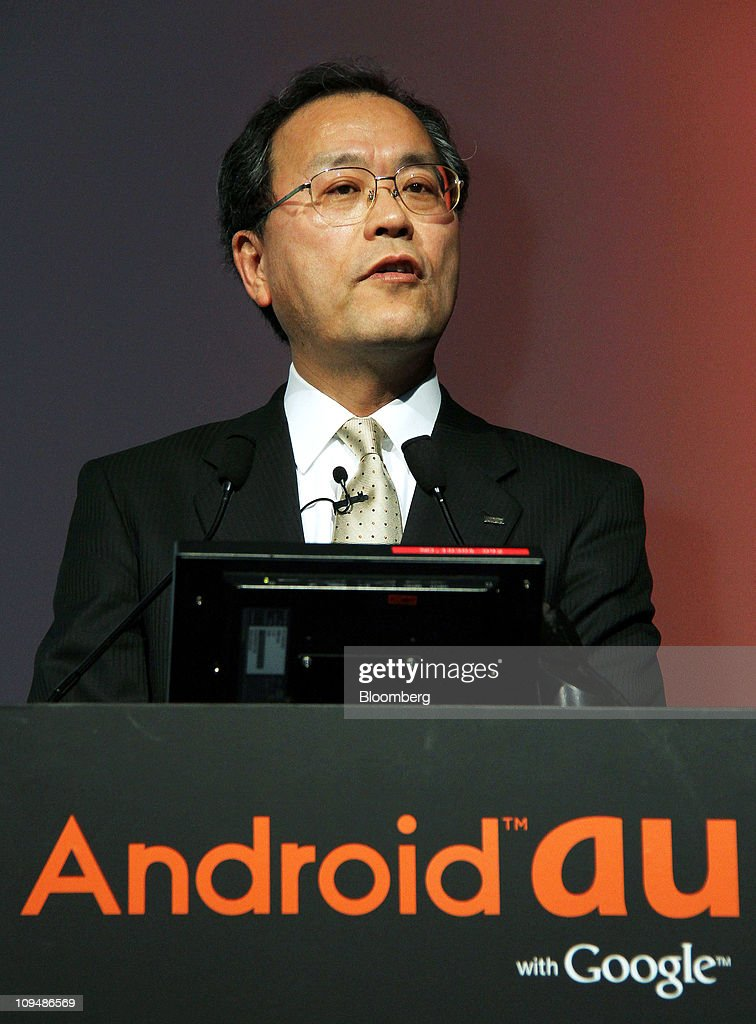 Takashi Tanaka, president of KDDI Corp., speaks during the unveiling of the company's new smartphone and tablet device models in Tokyo, Japan, on Monday, Feb. 28, 2011. KDDI is Japan's second-largest mobile-phone operator. Photographer: Haruyoshi Yamaguchi/Bloomberg via Getty Images