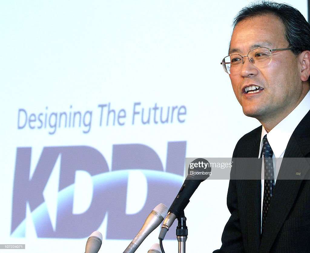 Takashi Tanaka the new president of KDDI Corp speaks during a news conference in Tokyo Japan on Wednesday Dec 1 2010 KDDI Corp Japan's secondlargest...
