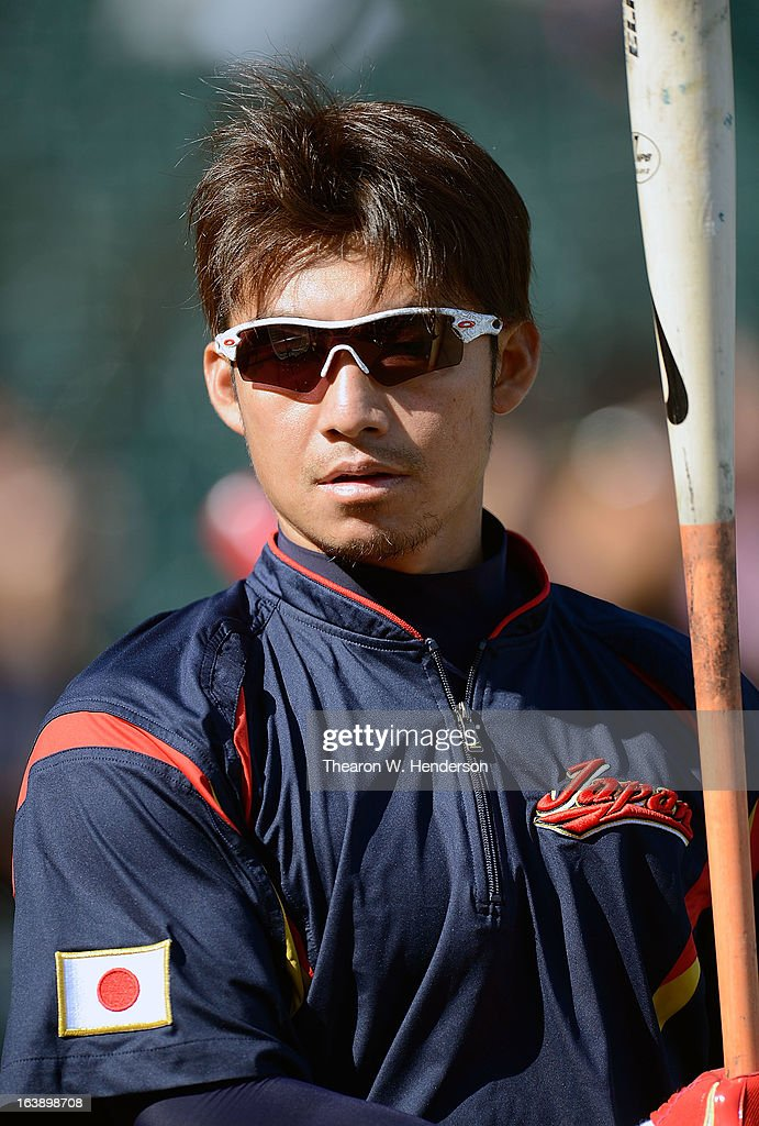 Takashi Toritani #1 of Team Japan looks on during batting practice before playing Team Puerto Rico in the Semifinal Game 1 of the World Baseball Classic - Championship at AT&T Park on March 17, 2013 in San Francisco, California.
