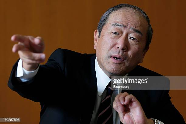 Takashi Tsukioka incoming president of Idemitsu Kosan Co gestures during an interview at the company's head office in Tokyo Japan on Friday May 31...
