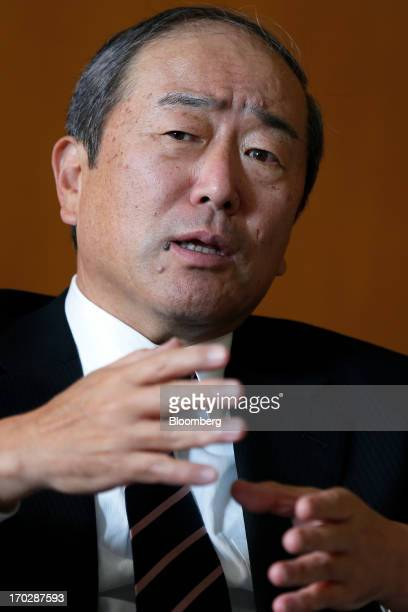 Takashi Tsukioka incoming president of Idemitsu Kosan Co speaks during an interview at the company's head office in Tokyo Japan on Friday May 31 2013...