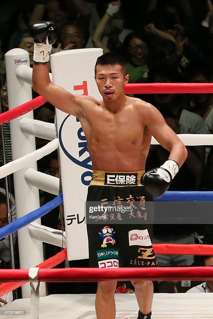 <a gi-track='captionPersonalityLinkClicked' href=/galleries/search?phrase=Takashi+Uchiyama&family=editorial&specificpeople=6963680 ng-click='$event.stopPropagation()'>Takashi Uchiyama</a> of Japan celebrates his victory over Jomthong Chuwatana of Thailand during the WBA Super World Super Featherweight title bout between <a gi-track='captionPersonalityLinkClicked' href=/galleries/search?phrase=Takashi+Uchiyama&family=editorial&specificpeople=6963680 ng-click='$event.stopPropagation()'>Takashi Uchiyama</a> of Japan and Jomthong Chuwatana of Thailand at the Ota-City General Gymnasium on May 6, 2015 in Tokyo, Japan.