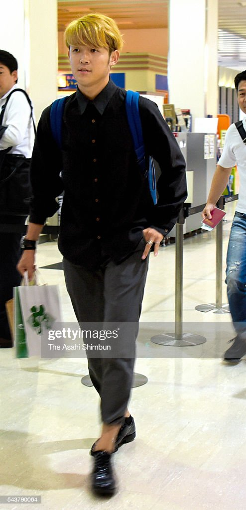 Takashi Usami is seen on departure at the Osaka International Airport on June 30, 2016 in Toyonaka, Osaka, Japan. Usami is joining Augsburg.
