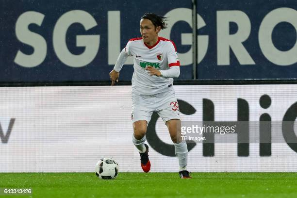 Takashi Usami of Augsburg controls the ball during the Bundesliga match between FC Augsburg and Bayer 04 Leverkusen at WWK Arena on February 17 2017...