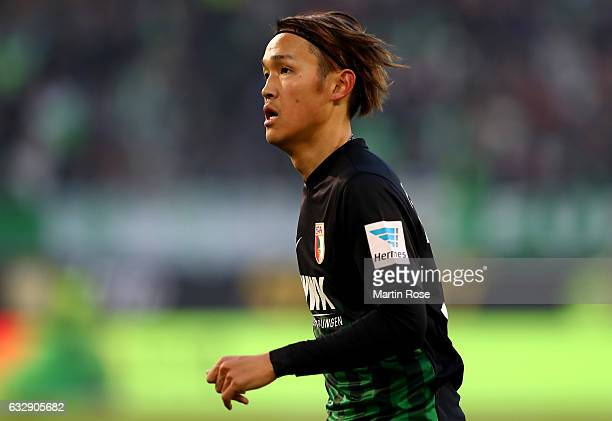 Takashi Usami of Augsburg runs during the Bundesliga match between VfL Wolfsburg and FC Augsburg at Volkswagen Arena on January 28 2017 in Wolfsburg...
