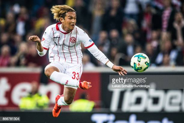 Takashi Usami of Duesseldorf in action during the Second Bundesliga match between Fortuna Duesseldorf and MSV Duisburg at EspritArena on October 2...