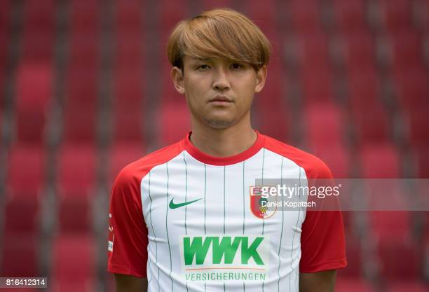 Takashi Usami of FC Augsburg poses during the team presentation at WWK Arena on July 17 2017 in Augsburg Germany