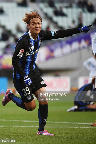 Takashi Usami of Gamba Osaka celebrates 2nd goal during The 95th Emperor's Cup SemiFinal Gamba Osaka v Sanfrecce Hiroshima at Nagai Stadium on...