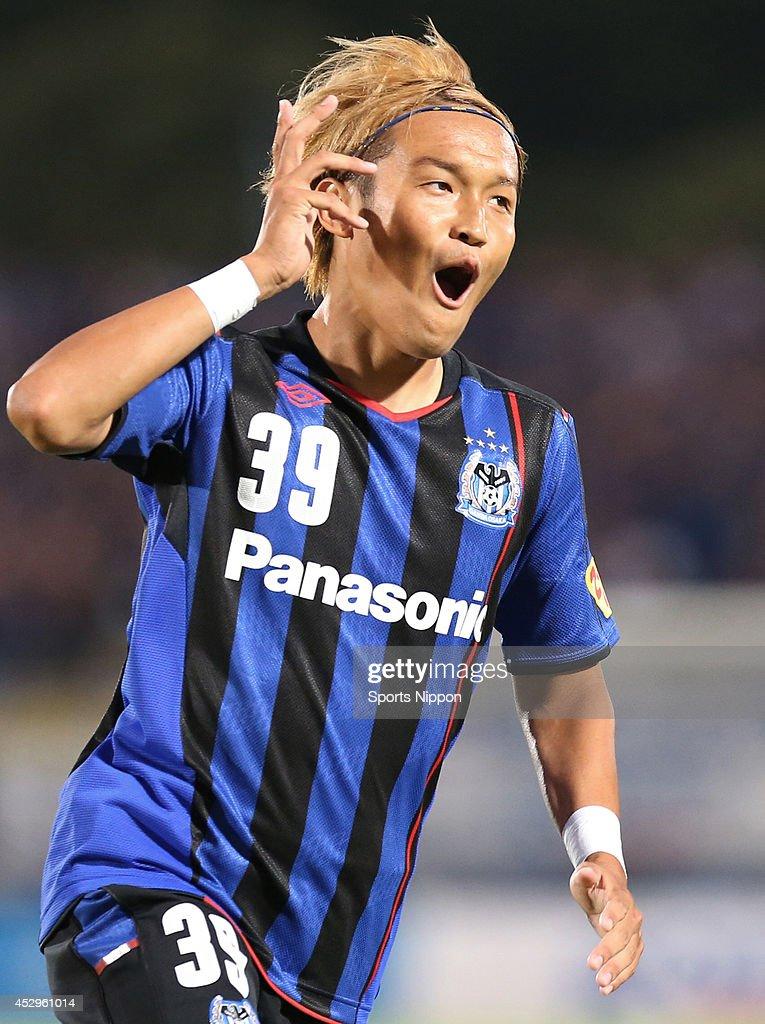 Takashi Usami of Gamba Osaka celebrates after scoring a goal in the J League match between Gamba Osaka and Ventforet Kofu at the Expo 70's Stadium on...