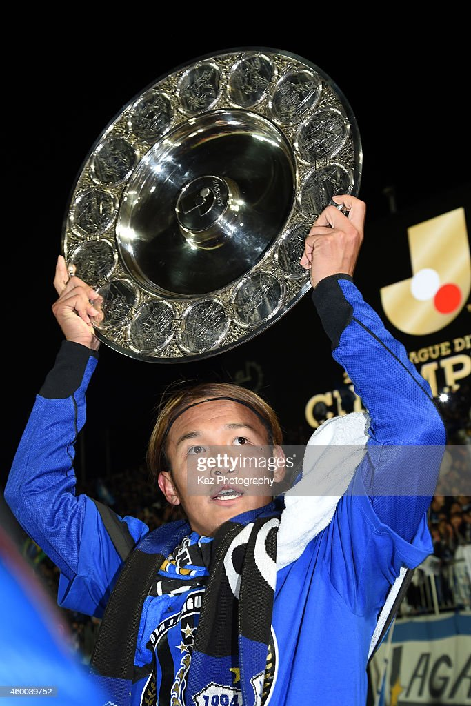 Takashi Usami of Gamba Osaka holds schale as J1 Champions during the JLeague match between Tokushima Vortis and Gamba Osaka at Naruto Otsuka Sports...
