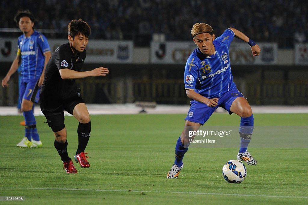Takashi Usami of Gamba Osaka in action during the AFC Champions League Group F match between Gamba Osaka and Seongnam FC at Expo '70 Stadium on May 6...