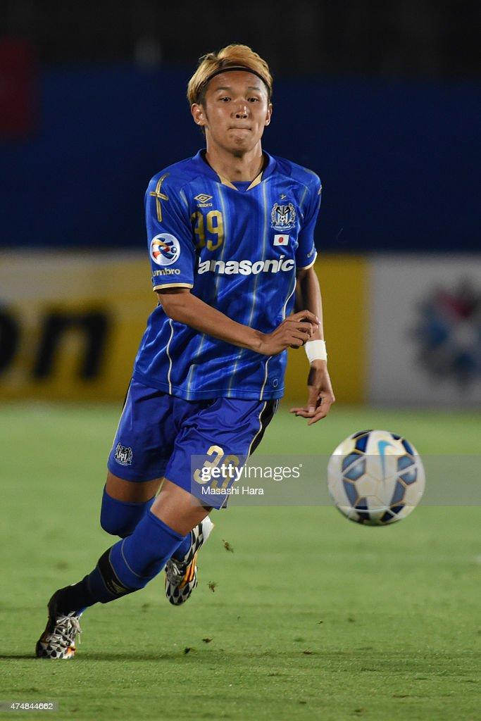Takashi Usami of Gamba Osaka in action during the AFC Champions League Round of 16 match between Gamba Osaka and FC Seoul at Expo '70 Stadium on May...