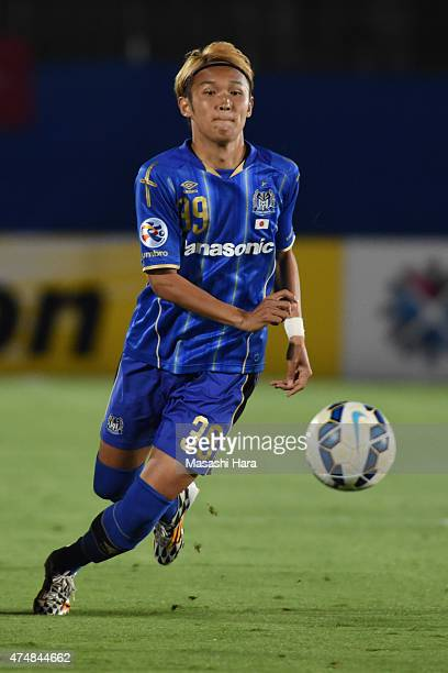 Takashi Usami of Gamba Osaka in action during the AFC Champions League Round of 16 match between Gamba Osaka and FC Seoul at Expo '70 Stadium on May...