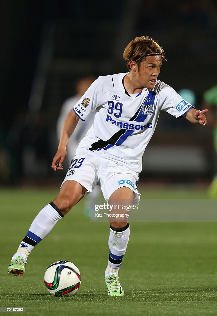 Takashi Usami of Gamba Osaka in action during the JLeague match between Shonan Bellmare and Gamba Osaka at Shonan BMW Stadium Hiratsuka on April 18...