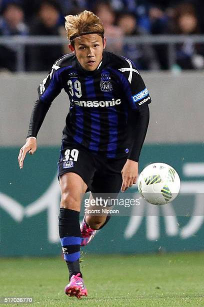Takashi Usami of Gamba Osaka in action during the Jleague match between Gamba Osaka and Omiya Ardija at the Suita City Football Stadium on March 11...