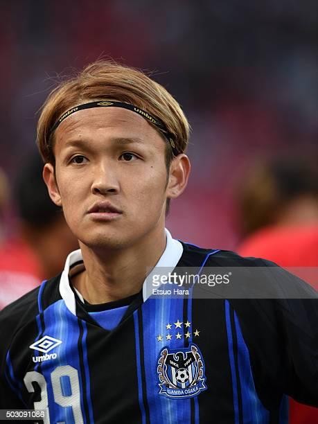 Takashi Usami of Gamba Osaka looks on after the 95th Emperor's Cup final between Urawa Red Diamonds and Gamba Osaka at Ajinomoto Stadium on January 1...