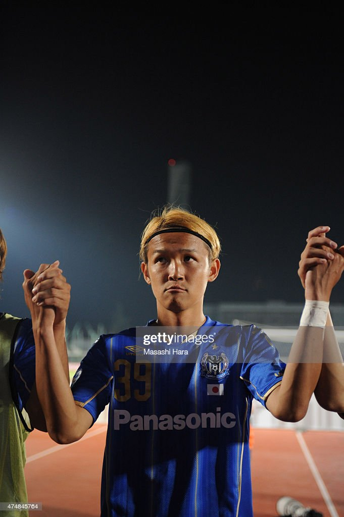 Takashi Usami of Gamba Osaka looks on after the AFC Champions League Round of 16 match between Gamba Osaka and FC Seoul at Expo '70 Stadium on May 27...