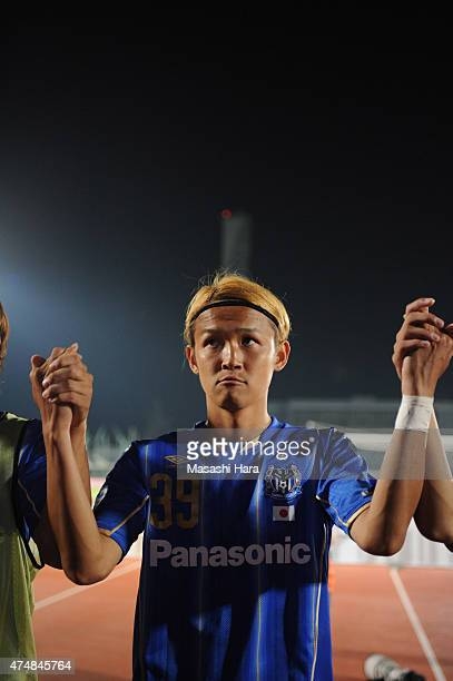 Takashi Usami of Gamba Osaka looks on after the AFC Champions League Round of 16 match between Gamba Osaka and FC Seoul at Expo '70 Stadium on May 27...