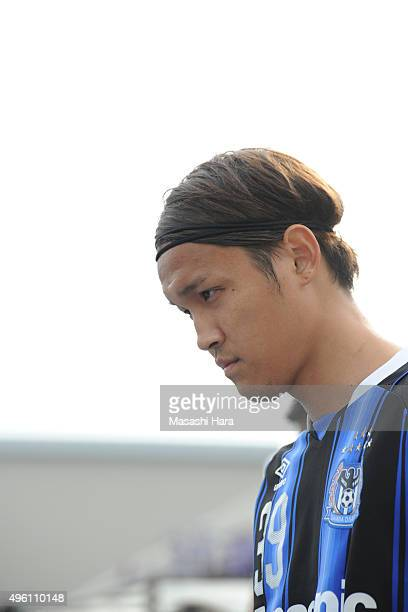 Takashi Usami of Gamba Osaka looks on prior to the JLeague match between Gamba Osaka and Sanfrecce Hiroshima at the Expo '70 Stadium on November 7...