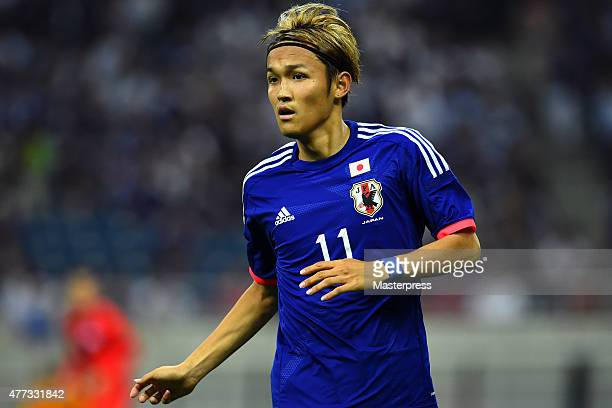 Takashi Usami of Japan in action during the 2018 FIFA World Cup Asian Qualifier second round match between Japan and Singapore at Saitama Stadium on...