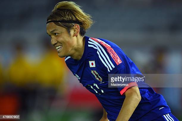 Takashi Usami of Japan in action during the international friendly match between Japan and Iraq at Nissan Stadium on June 11 2015 in Yokohama Japan