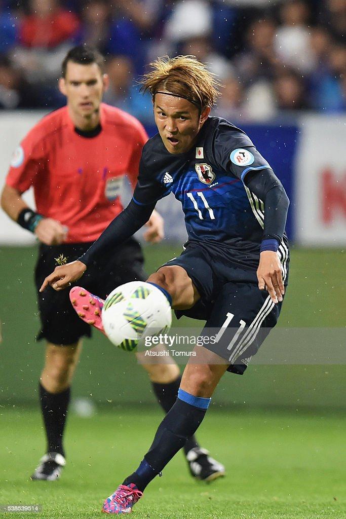Takashi Usami of Japan shoots at goal during the international friendly match between Japan and Bosnia and Herzegovina at the Suita City Football...