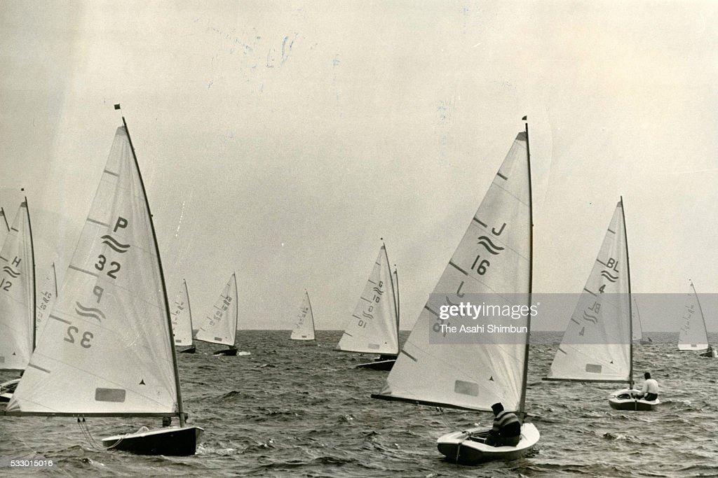 Takashi Yamada competes in the Sailing Finn seventh round during the Tokyo Summer Olympic Games at Sagami Bay on October 21 1964 in Fujisawa Kanagawa...