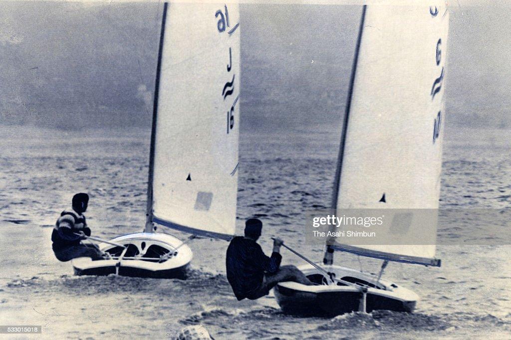 Takashi Yamada competes in the Sailing Finn seventh round during the Tokyo Summer Olympic Games at Sagami Bay on October 14 1964 in Fujisawa Kanagawa...