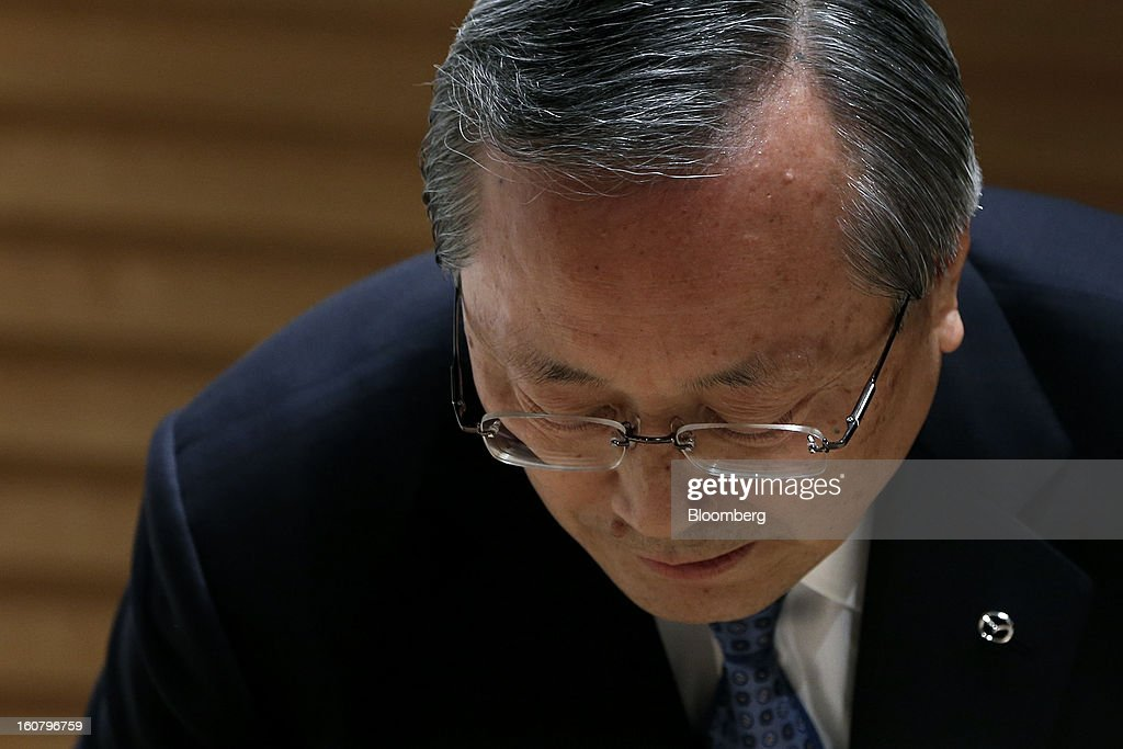 <a gi-track='captionPersonalityLinkClicked' href=/galleries/search?phrase=Takashi+Yamanouchi&family=editorial&specificpeople=5292471 ng-click='$event.stopPropagation()'>Takashi Yamanouchi</a>, chief executive officer of Mazda Motor Corp., attends a news conference in Tokyo, Japan, on Wednesday, Feb. 6, 2013. Mazda, the best performer on the Nikkei 225 Stock Average in the past three months, more than doubled its full-year profit forecast on a weaker yen and demand for its fuel-efficient vehicles. Photographer: Kiyoshi Ota/Bloomberg via Getty Images