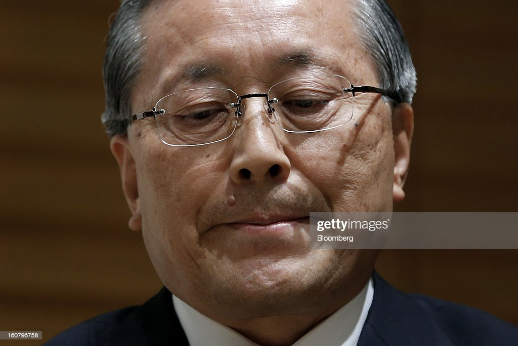 Takashi Yamanouchi, chief executive officer of Mazda Motor Corp., reacts during a news conference in Tokyo, Japan, on Wednesday, Feb. 6, 2013. Mazda, the best performer on the Nikkei 225 Stock Average in the past three months, more than doubled its full-year profit forecast on a weaker yen and demand for its fuel-efficient vehicles. Photographer: Kiyoshi Ota/Bloomberg via Getty Images