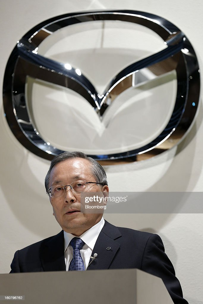 <a gi-track='captionPersonalityLinkClicked' href=/galleries/search?phrase=Takashi+Yamanouchi&family=editorial&specificpeople=5292471 ng-click='$event.stopPropagation()'>Takashi Yamanouchi</a>, chief executive officer of Mazda Motor Corp., speaks during a news conference in Tokyo, Japan, on Wednesday, Feb. 6, 2013. Mazda, the best performer on the Nikkei 225 Stock Average in the past three months, more than doubled its full-year profit forecast on a weaker yen and demand for its fuel-efficient vehicles. Photographer: Kiyoshi Ota/Bloomberg via Getty Images