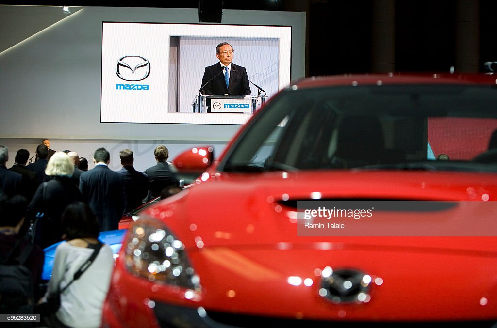 Takashi Yamanouchi Mazda's President and CEO speaks at the 2010 Subaru Outback at the 2009 New York Auto Show at the Jacob Javits Convention Center...