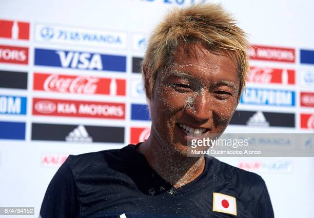 Takasuke Goto of Japan speaks to the media after the FIFA Beach Soccer World Cup Bahamas 2017 group D match between Japan and Poland at National...