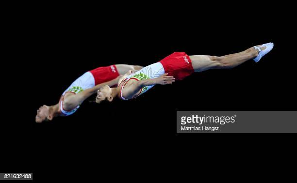 Takato Nakazono and Yamato Ishikawa of Japan compete during the Trampoline Synchronized Men Qualification of The World Games at Centennial Hall on...