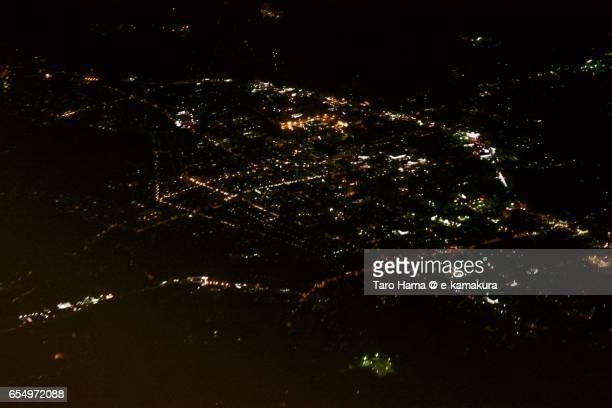 Takayama city, night time aerial view from airplane