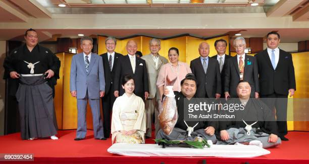 Takayasu celebrates after his promotion to Ozeki second highest rank in sumo at Tagonoura Stable on May 31 2017 in Tokyo Japan