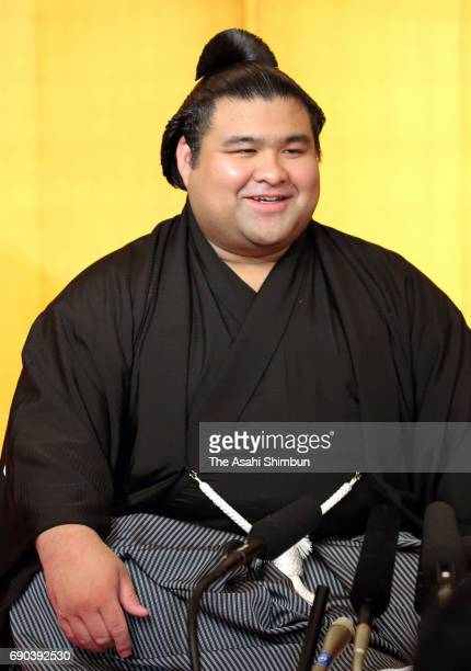 Takayasu speaks during a press conference after his promotion to Ozeki second highest rank in sumo at Tagonoura Stable on May 31 2017 in Tokyo Japan