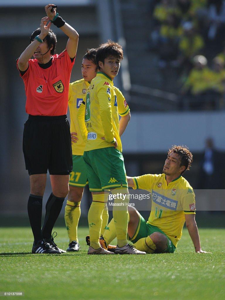 Takayuki Funayama of JEF United Chiba looks injured during the preseason friendly match between JEF United Chiba and Kashiwa Reysol at the Fukuda Denshi Arena on February 14, 2016 in Chiba, Japan.