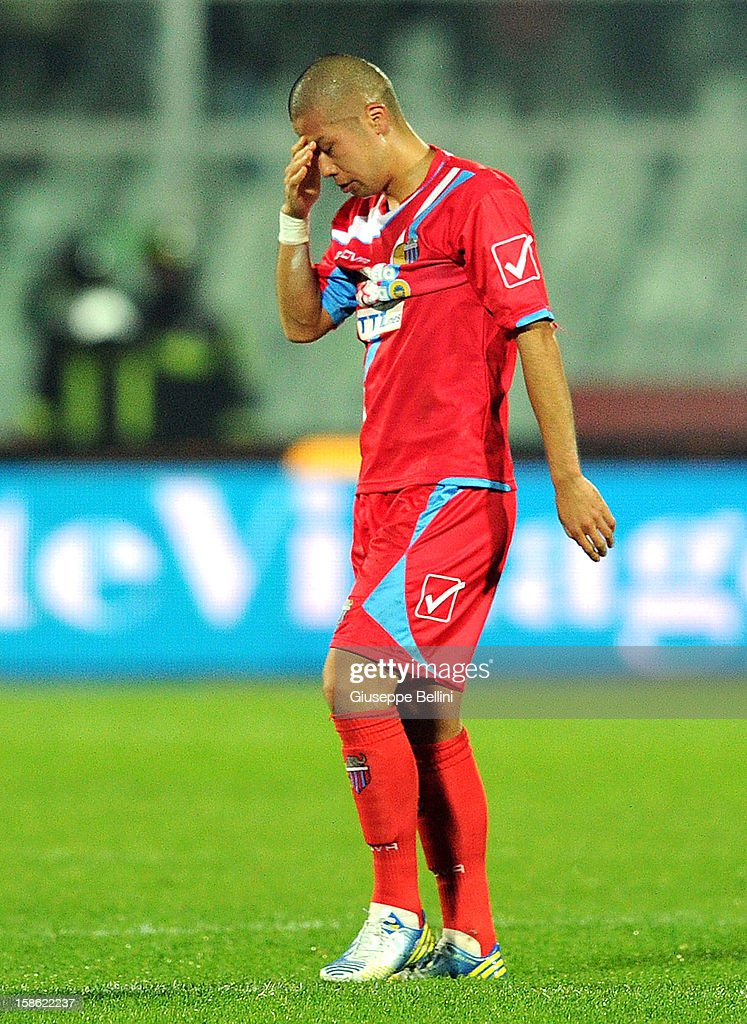 Takayuki Morimoto of Catania after the Serie A match between Pescara and Calcio Catania at Adriatico Stadium on December 21, 2012 in Pescara, Italy.