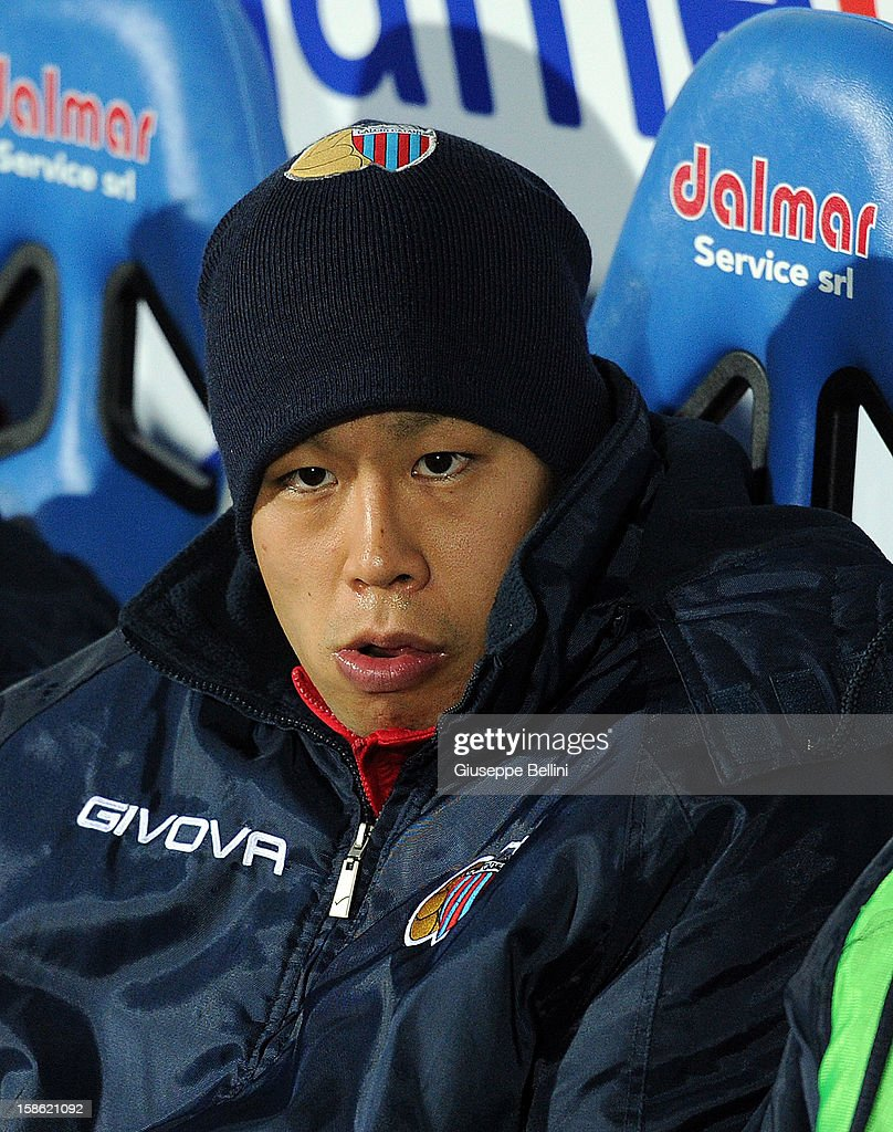 Takayuki Morimoto of Catania during the Serie A match between Pescara and Calcio Catania at Adriatico Stadium on December 21, 2012 in Pescara, Italy.