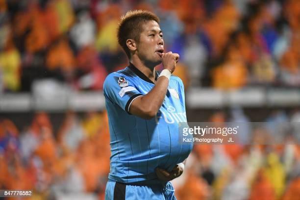 Takayuki Morimoto of Kawasaki Frontale celebrates scoring his side's third goal during the JLeague J1 match between Shimizu SPulse and Kawasaki...