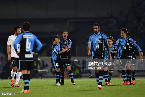 Takayuki Morimoto#9 of Kawasaki Frontale celebrates scoring his team's second goal during the 96th Emperor's Cup fourth round match between Kawasaki...