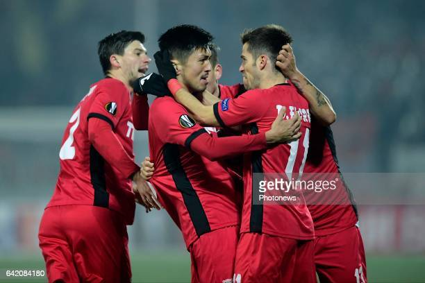Takayuki Seto midfielder of FC Astra Giurgiu celebrates scoring the equalising goal during the UEFA Europa League Round of 32 1st leg match between...