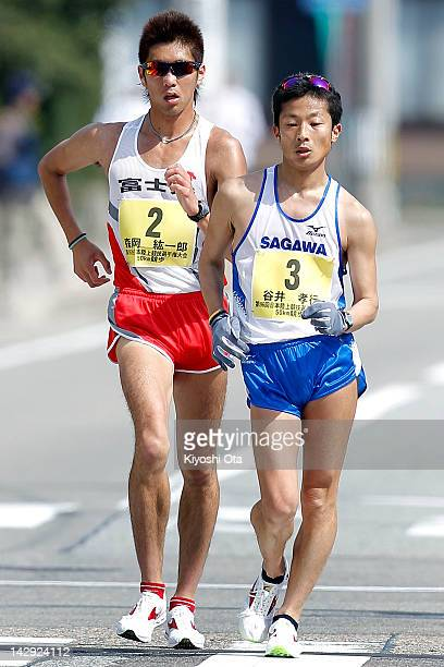 Takayuki Tanii and Koichiro Morioka compete in the 96th JAAF Championship 50km Race Walk on April 15 2012 in Wajima Japan