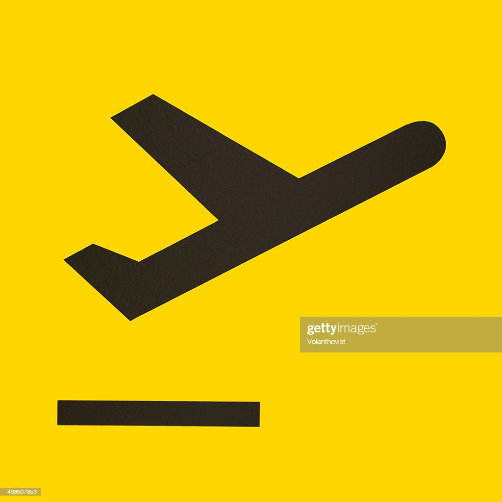 Take off icon w/ plane in yellow background : Stock Photo
