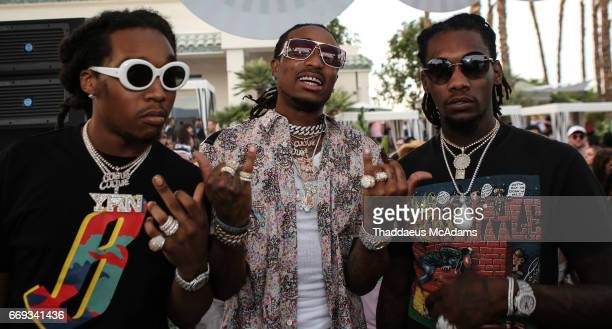 Take Off Quavo and Off Set of the Migos perform at the Revolve Desert house on April 16 2017 in Palm Springs California