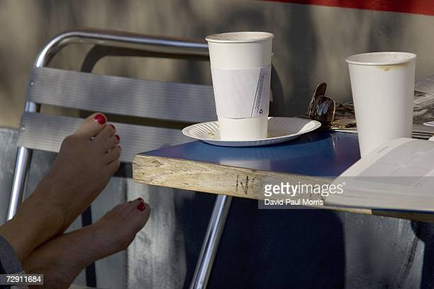 Take out cups and plates made of paper are seen at the Hudson Bay Cafe on January 1 2007 in Oakland California In an effort to curb pollution the...