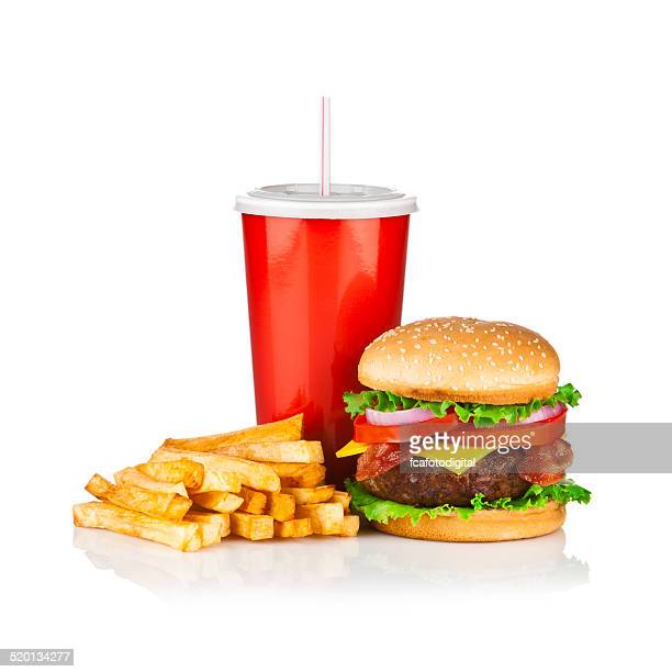 Take Out Food, Classic Cheeseburger Meal isolated on white